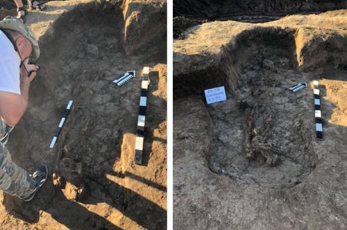 Раскоп могилы воина-сармата на Арабатской стрелке