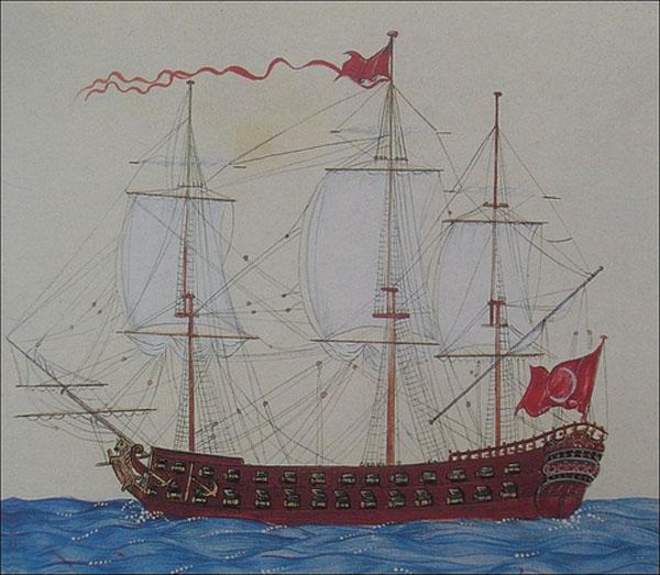 Старинная турецкая миниатюра, изображающая корабль османского флота XVIII века